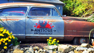 Vehicle parked outside the Antique Archeology store in Iowa. Photo via History Channel