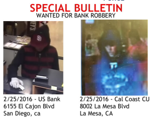 A wanted flyer for a suspect in two bank robberies.