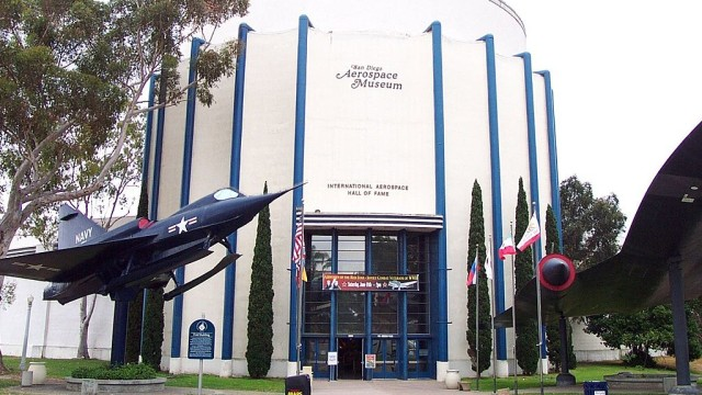 Entrance to the San Diego Aerospace Museum in San Diego, CA, USA. May 2005. Photo by Scott Ehardt (Own work) [Public domain], via Wikimedia Commons