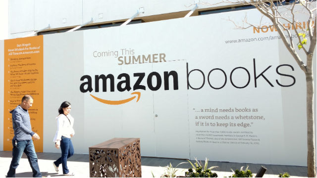 Signage outside the Amazon bookstore in University Town Center. Photo by Chris Jennewein