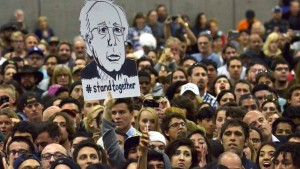 Thousands packed the San Diego Convention Center for their candidate's first California visit. Photo by Chris Stone