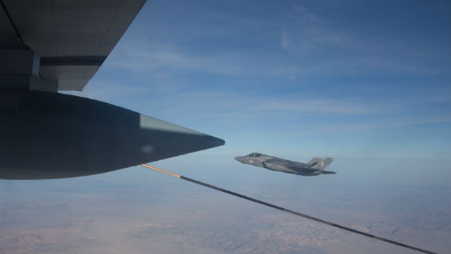 An F-35B Lightning II flies alongside a KC-130J Super Hercules over Southern California. Marine Corps photo