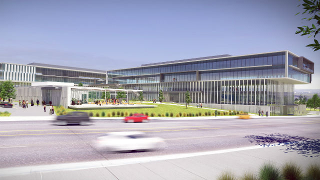 A rendering of the first phase of the Millenia office area.