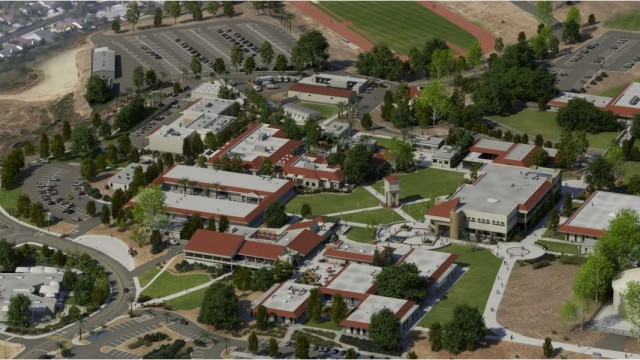An aerial view of MiraCosta College's Oceanside campus. Courtesy of the college