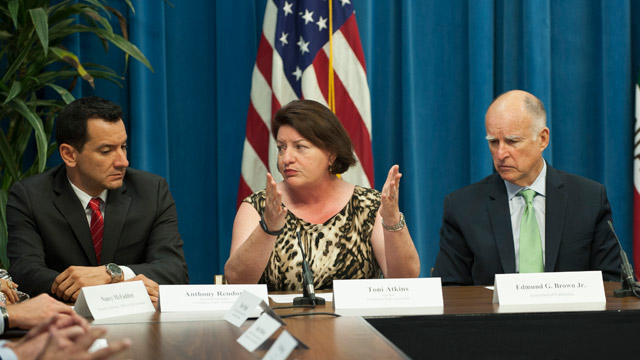 Anthony Rendon (left) with Assembly Speaker Toni Atkins and Gov. Jerry Brown. Courtesy Rendon's office