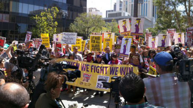 Janitors and other low-wage workers rally in downtown San Diego. Courtesy SEIU Local 221