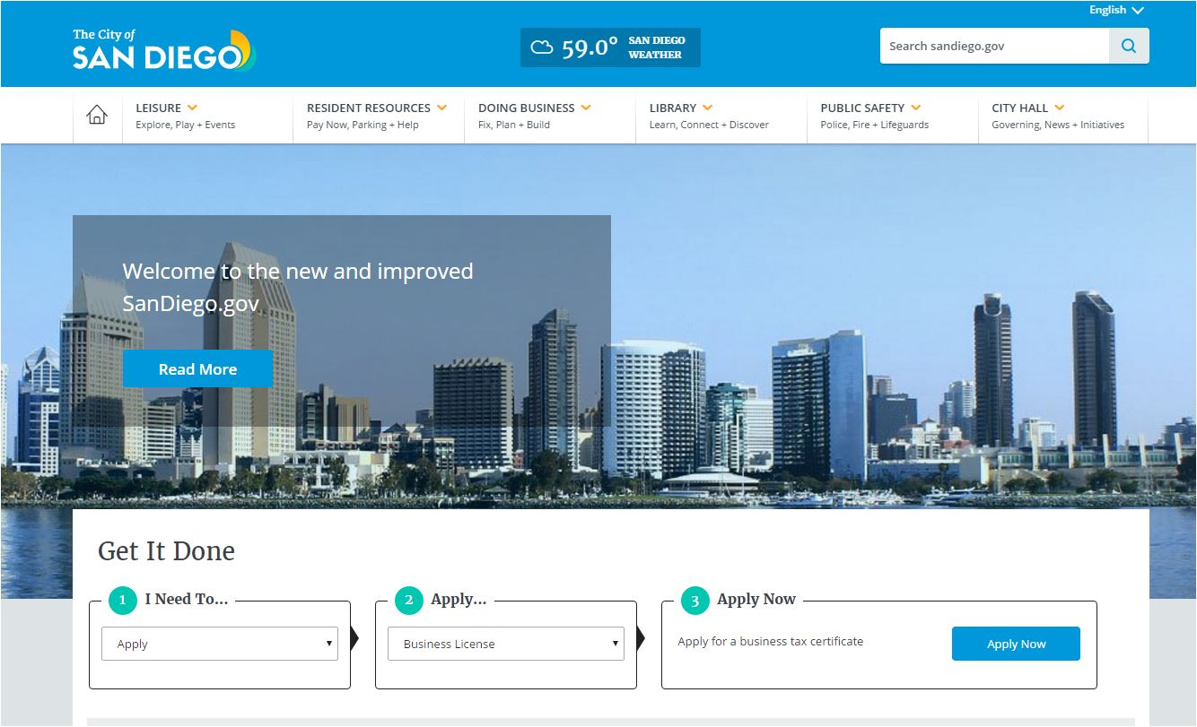 A screenshot of the homepage of the city of San Diego's new website.