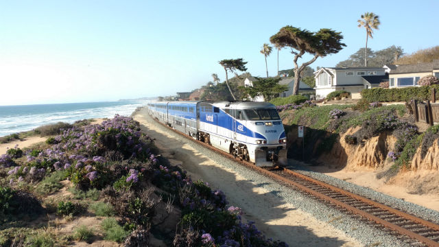 An Amtrak train heading south through Del Mar. Photo by Chris Jennewein