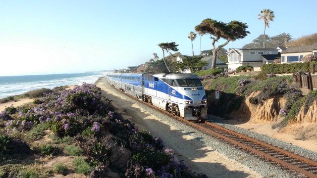 An Amtrak train heading south through Del Mar. Photo by Chris Jennewein