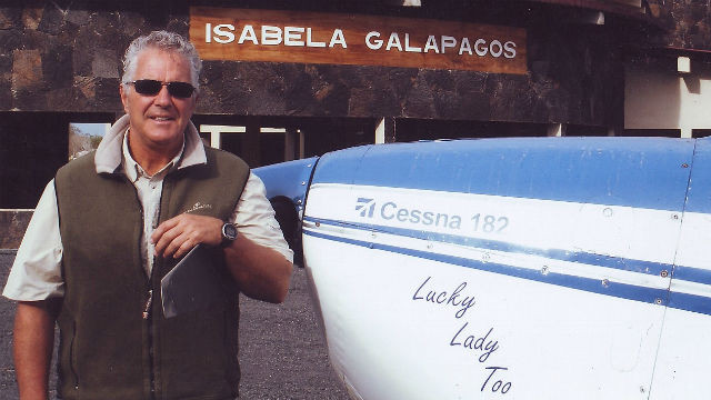 Bob Gannon with Luck Lady Too in the Galapagos Islands.