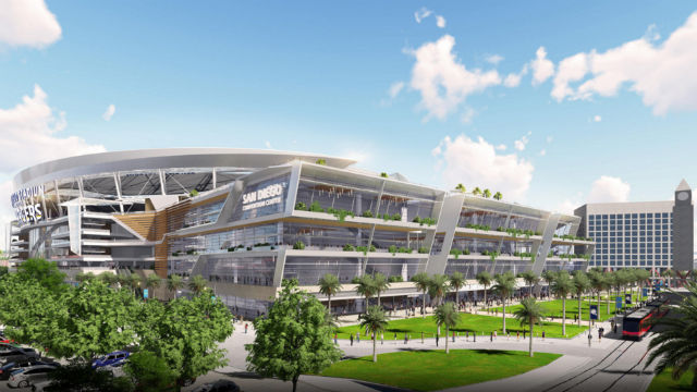 A rendering of the downtown stadium and convention center annex proposed by the Chargers.