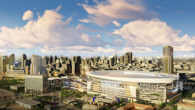 A rendering of the proposed stadium. Petco Park is visible on the far left. Courtesy San Diego Chargers