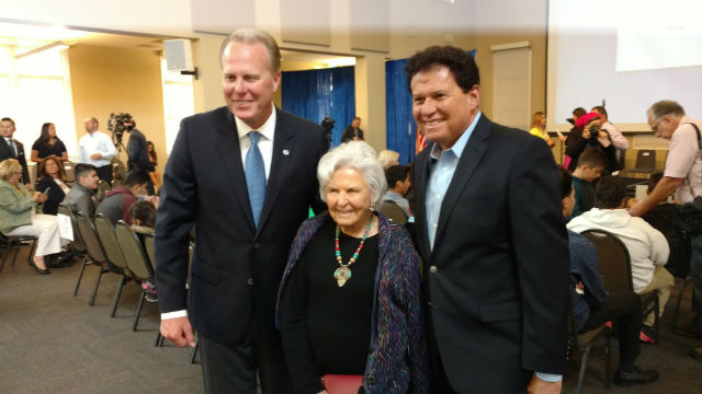 Deborah Szekely with Mayor Kevin Faulconer (left) and state Sen. Marty Block.