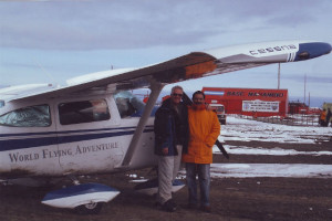 Gannon and his plane in Antartica.