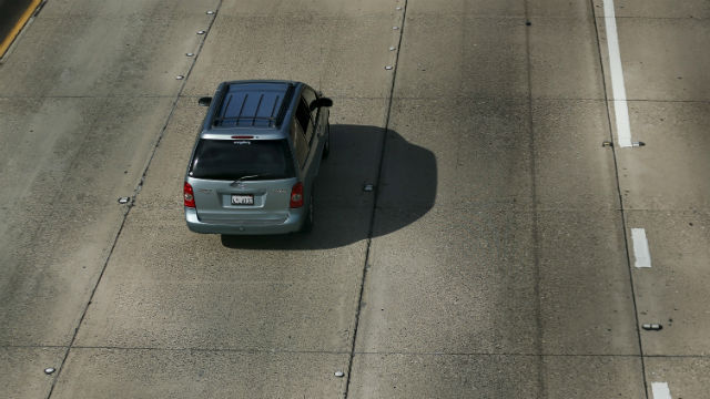 Missing lane markers on Interstate 5 in San Diego. REUTERS / Mike Blake