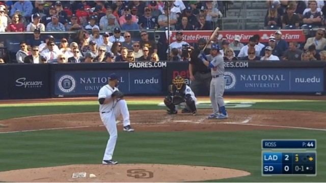 An Opening Day pitch at Petco Park. Image from Padres video