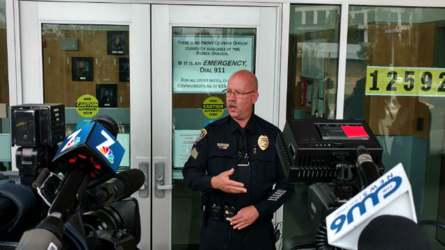 Detective Sgt. Wesley Albers speaks to the press about the Westview High School investigation. Photo by Chris Jennewein