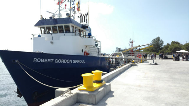The R/V Robert Gordon Sproul docked at the Nimitz Marine Facility. Photo by Chris Jennewein