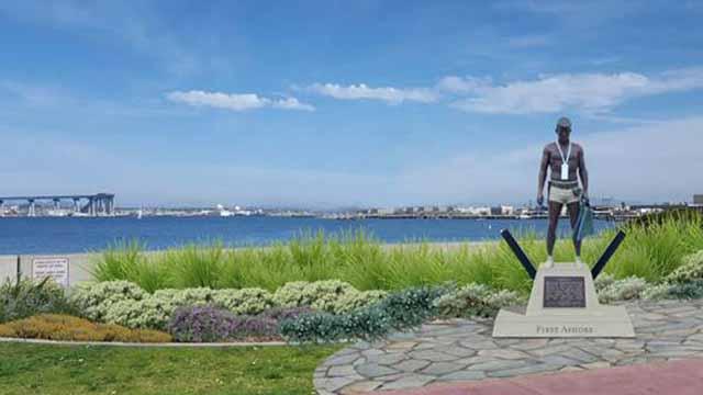 "Rendering of ""Naked Warrior"" statue honoring Underwater Demolition Teams of World War II. Photo via City of Coronado"
