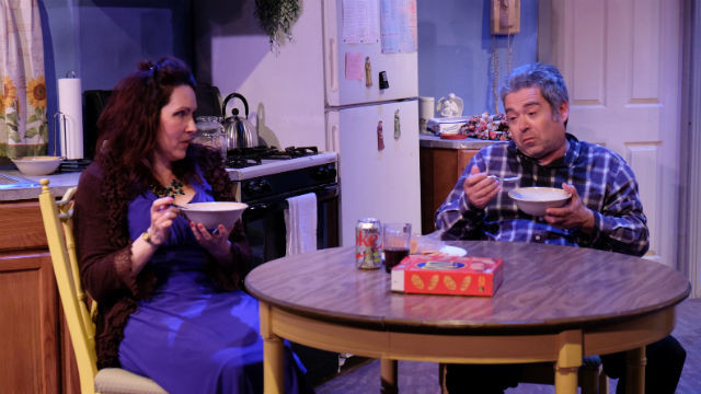"Brenda Adelman and Daniel Gurian in ""Skin Deep"" at Scripps Ranch Theatre. Photo by Ken Jacques"