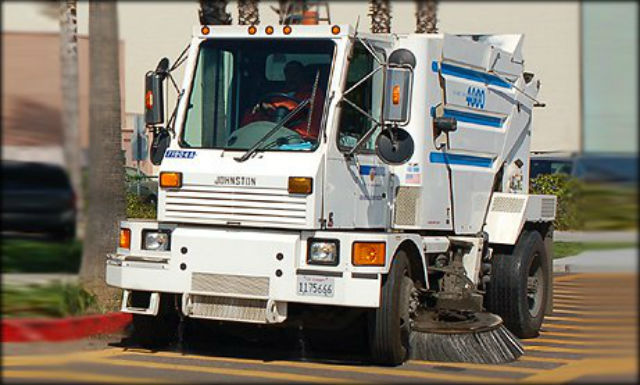 A City of San Diego street sweeper in operation. Courtesy of the city