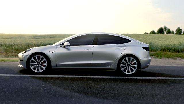 A pre-production Tesla Model 3 sedan. Courtesy Tesla