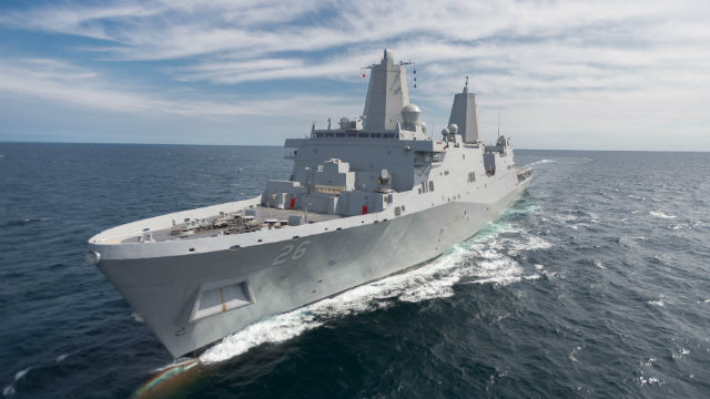 The future USS John P. Murtha during builder's trials in the Gulf of Mexico. Courtesy Huntington Ingalls