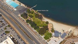 """Aerial view of locale of """"Naked Warrior"""" statue in November. Photo via City of Coronado"""
