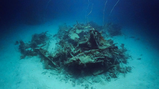 Wreckage of a Navy TBM-1C Avenger located by Project RECOVER off Palau. Photo by Eric Terrill and Mark Moline