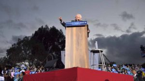 Bernie Sanders addresses crowd at National City's Kimball Park. Photo by Chris Stone