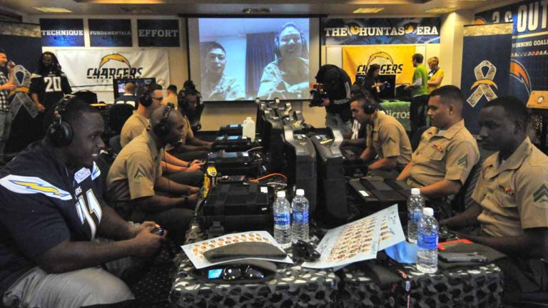 San Diego Chargers and Miramar Marines met for a friendly game of Call of Duty. Photo by Chris Stone