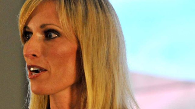 Encinitas Mayor Kristin Gaspar speaks at fourth District 3 county supervisor debate. Photo by Ken Stone