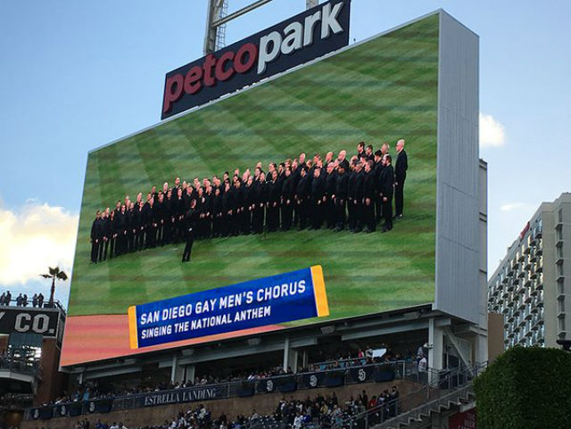 The San Diego Gay Men's Chorus prepares to sing at Petco Park. Image from chorus Twitter feed