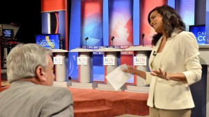 KPBS reporter Amita Sharma, the moderator, chats with audience before a 2016 governor debate. Photo by Ken Stone