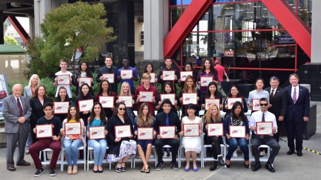 Winners of Metropolitan Transit System's essay contest. Courtesy photo