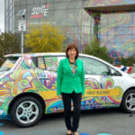 Mary Salas with Nissan LEAF
