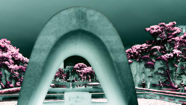 The Memorial Cenotaph in the Hiroshima Peace Memorial Park. Visual interpretation by Joe Nalven