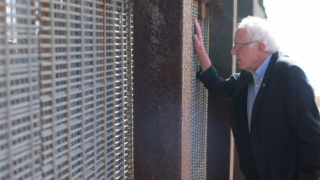 Sen. Bernie Sanders at the border wall in Friendship Park. Courtesy Sanders campaign Twitter feed