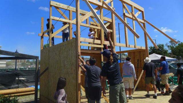 The tiny home prototype under construction in Barrio Logan.