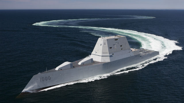 The USS Zumwalt maneuvers during sea trials in the Atlantic Ocean. Navy photo