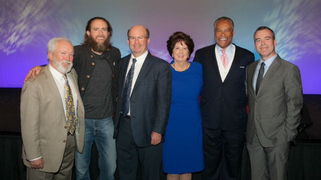 Patrick Russell (left), Greg Koch, Stephen, Marilyn, Jesse Knight and Mark Cafferty. Photo by Melissa Jacobs
