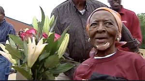 Ella Mae Colbert after her world-record 100-meter dash at age 100. Photo via YouTube.com