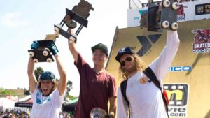 Beaver Fleming, Trey Wood and Willis Kimbel show off prizes in debut Skatecross race. Photo by  Brian Shamanski