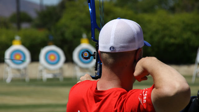 An archer takes aim at the Easton Archery Center of Excellence in Chula Vista.