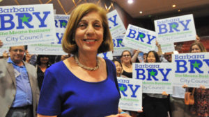 Barbara Bry with supporters at Election Central in downtown San Diego. Photo by Chris Stone