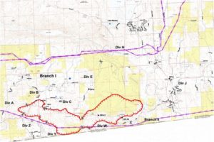 Cal Fire map shows extent of the fire north of the border.