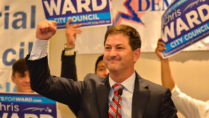 District 3 council candidate Chris Ward celebrates on election night. Photo by Chris Stone