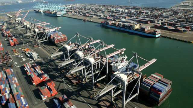 Container ships at the port of Los Angeles. Courtesy of the port