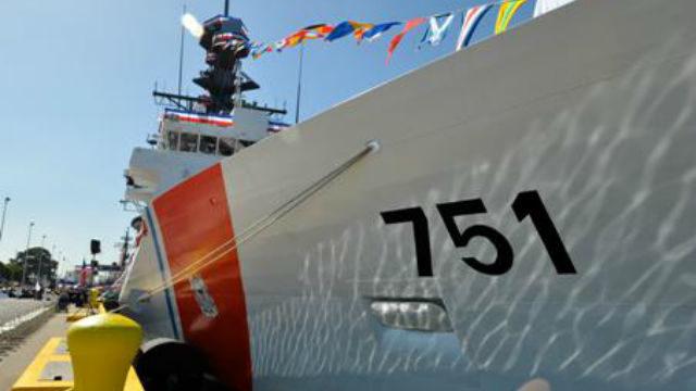 The cutter Waesche docked at a pier. Courtesy Coast Guard
