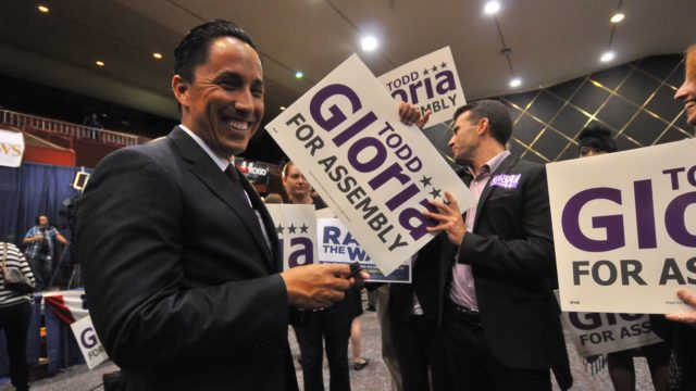 Councilman Todd Gloria, who is running for state Assembly, appears at Golden Hall beside supporters, June 7, 2016. Photo by Chris Stone